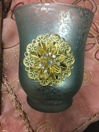 green and yellow floral glass studded candle holder