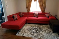 red suede sectional sofa with throw pillows Brampton, L6Y 5R3