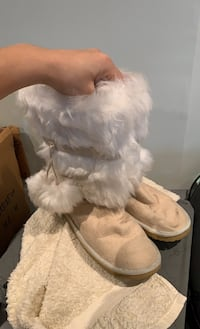 Faux fur high boots