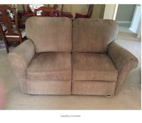 Gray micro suede loveseat (lazy boy)