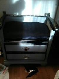 white and black wooden nightstand
