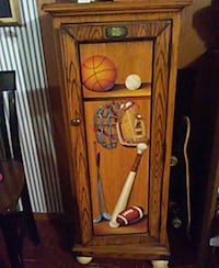 Kids sports cabinet with 3 shelves and matching drawered cabinet