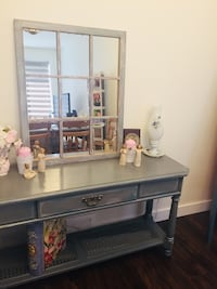 Gray and black wooden dresser with mirror Calgary, T2A