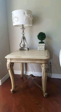 brown wooden side table with table lamp Guelph, N1K 1L3