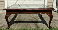 Walnut Heavy Glass Coffee Table w Cabriole style legs 972 mi
