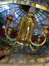 brass and clear glass chandelier Hollsopple, 15935