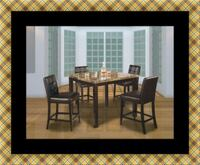 Marble tall table with 4 leather chairs 52 km