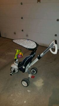 toddler's white and black push trike Langdon, T0J 1X1