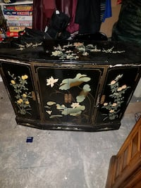 black, green and white floral wooden sideboard Carlstadt, 07072