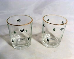 Vintage Irish Shamrock Shot Glasses