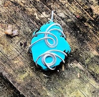 Genuine Turquoise and recycled sterling wire wrapped Pendant. Chain included   Harvest, 35749