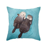 """BRAND NEW (PACKAGE SEALED): 18"""" Love Otters Holding Hands Animal Print Decorative Pillow Case & Hypo Allergenic Pillow Insert Home Decor  Jacksonville"""
