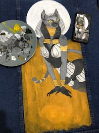 Hand made drawing and painting on jean