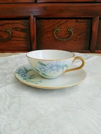 Cup and Saucer with Flowers Signed Katherine  Escondido, 92025