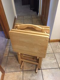 Four light oak trays w/stand. Great condition, $30 Kettering, 45429