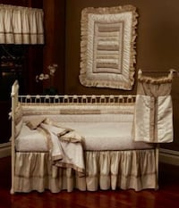 baby's white crib with brown-and-beige bedding set Bradford, L3Z