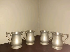 Vintage TR crown  pewter armetale mugs tankard  be