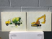 Excavator and cement truck art both 8x10 Jackson, 30233