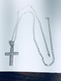 Real silver cross pendant and chain. Houston, 77036