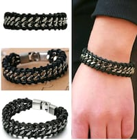 Cuban braided leather and stainless steel bracelet Boston, 02127