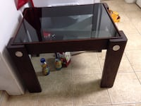 Wood, chrome & tinted glass coffee or end table.  Langley, V3A