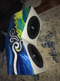White and black dual competition subwoofer speaker