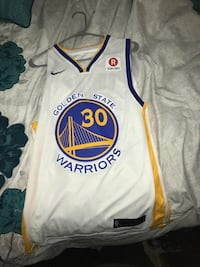 white and blue Golden State Warriors jersey Algonquin, 60102