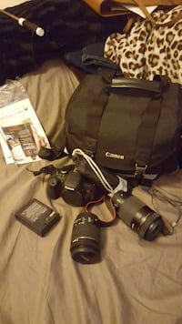 black Canon DSLR camera with lens and bag Springfield, 65802