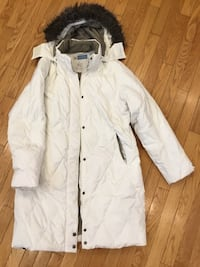 white button-up parka jacket