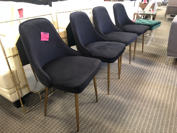 Set of 4 black velvet dining chairs on gold pencil legs