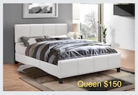 Brand new white queen faux leather platform bed frame with adjustable headboard warehouse sale  Toronto, M1V 1E8