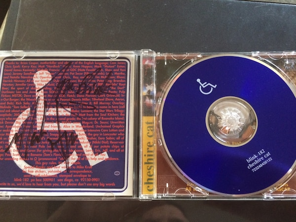Used Blink 182 Signed Cheshire Cat CD With Case For Sale In