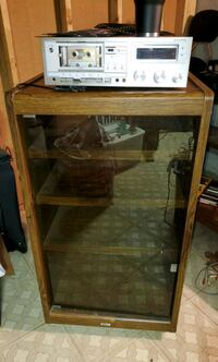 AKAI vintage radio stand with glass door.  Macomb, 48044