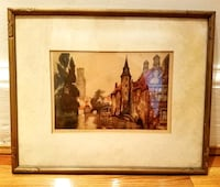 """French Art Le Martine """"Serene Corner in Belgium"""" Pencil Signed Matted Gold Framed Lithograph Print Antique Vintage Architecture Cathedral Victorian Boston"""