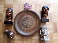 Wooden plate. Head statues. Stone Candle holder Ottawa, K2G 3Y3
