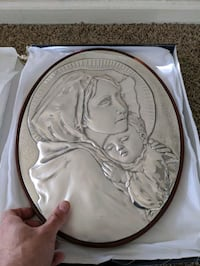 Silver Mary and baby Jesus plate. Made in italy Colorado Springs, 80920