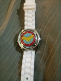 round silver-colored analog watch with link bracelet 244 mi