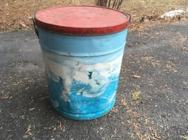 "Antique tin can 15"" x 20 with bluebird motif canister - canistre j"