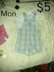 blue, beige, and white plaid overall shorts