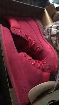 pair of red Timberland work boots in box Silver Spring, 20904