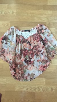 beige, brown, and green floral scoop-neck poncho