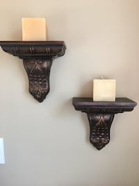 Two Wall shelves with 2 square candles Hamilton, L9A 5K1