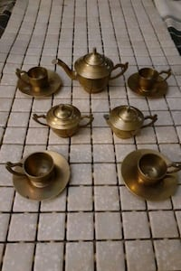 Tea Set, Mini 14 piece copper Vintage Antique