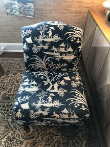Navy Upholstered Curved Back Armless Chair