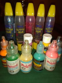 Fabric paint and glitter glue