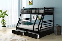 black wooden bunk bed with mattress Houston, 77043