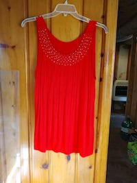 Pretty Red Blouse with Gold Beads