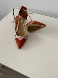 pair of brown leather open toe ankle strap heels Arlington, 22206