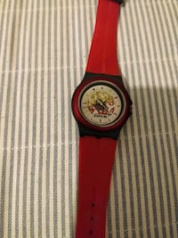 round black and red analog watch with red strap Burnaby, V5A