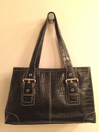 Charter Club Croc-Embossed Black Tote Handbag/Purse Darien, 06820